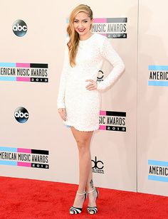 Brandi Cyrus in a short, sleeved white dress by Rachel Zoe Collection at the 2013 AMAs