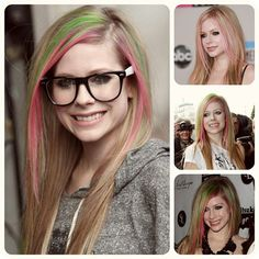 Avril Lavigne rainbow colored ombre hair styles summer
