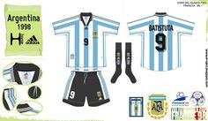 Argentina home kit for the 1998 World Cup Finals.