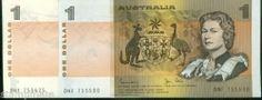 Australia 1982 $1 of 75 Consecutive notes Johnston-Stone DNF 755425 till 7555 00