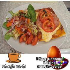 It's Tuesday Tasty time at The Coffee Market George. Try our home made Pizza with a variety of toppings and a salad. Don't forget that from 15h00 everyday we also have our Cake of the day and coffee special for only R20.00. #cuisine #coffeeshop #homemaderecipes