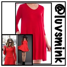 """TRAPEZE DRESS WITH POCKETS IN LOVERS RED - SMALL Who doesn't love to twirl like a dancer; your hair blowing and your skirt flying? This darling dress in LOVERS RED has a scoop neck, long sleeves, and hidden side pockets. 95/5 rayon/spandex, 36"""" length. Swing it girlfriend, whether you wear as a dress or tunic. Throw on a poncho or scarf and wear it now !! Available in S/M/L only.  No trades or holds. Please ask for your personal listing.  Other colors available. This is a size SMALL Brenda's…"""