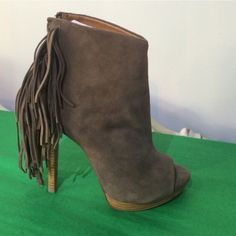 """Peep toe suede bootie with fringe Leather upper. Zipper up the back with fringe. 4"""" heel with 1/2"""" platform for comfort. Never worn. No trades. All sales final. Taupe naughty monkey Shoes Ankle Boots & Booties"""
