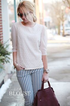 Lace blouse, striped pants