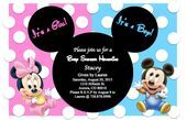 Baby Mickey and Minnie Baby shower invitation Perfect for celebrating twins! The invitation can also be made for a boy/girl sharing a Baby Shower Card Message, Baby Shower Welcome Sign, Baby Shower Cards, Baby Mickey, Mickey Mouse Baby Shower, Mickey Head, Disney Gender Reveal, Baby Gender Reveal Party, Gender Reveal Invitations