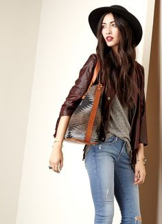 #Fall #Style #Casual #Jeans #Leather #Jacket #Bags #Accessories #Hats