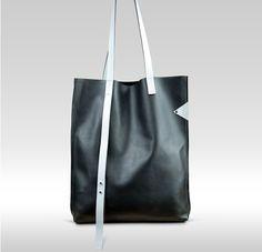 CINDERELLA BLACK & SILVER Bag - Leather Tote, Black Leather Tote, Leather Shopper Bag, Handmade Leather Bag