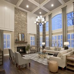 traditional style home. Exquisite model home in Massachusetts showcases inspiring details (Image Courtesy of Mary Cook Associates) Deco Design, Design Case, Style At Home, Home Living Room, Living Room Designs, High Ceiling Living Room, Apartment Living, Living Area, Home Fashion