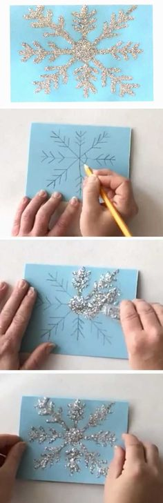 Shiny Snowflake | 20 + DIY Christmas Cards for Kids to Make More