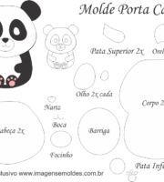 Molde Porta Caneca Panda - Molde para EVA - Feltro e Artesanato