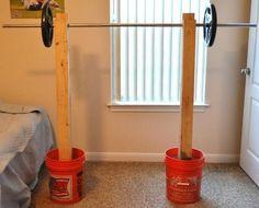 DIY Squat Rack for under 40 bucks. #crafts