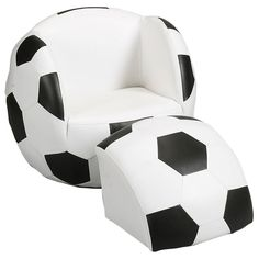 This Soccer Ball Chair with Ottoman is ideal for any young soccer player's room or play area. This novel chair offers a fun and innovative design. Soccer Room Decor, Soccer Bedroom, Football Bedroom, Soccer Theme, Chair And Ottoman Set, Ottoman Furniture, Upholstered Chairs, Kids Furniture, Unusual Furniture