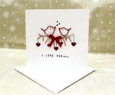 love bird card cute red birds hanging hearts by Yasminjonescards