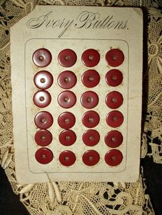 The Gatherings Antique Vintage - 24 Victorian 1900 Vegetable Ivory Dress Buttons On Card, $20.00 (http://store.the-gatherings-antique-vintage.net/24-victorian-1900-vegetable-ivory-dress-buttons-on-card/)