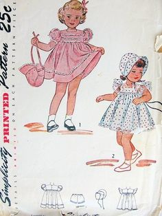 VINTAGE CHILD'S DRESS, BONNET, PANTIES SIMPLICITY PATTERN #2788