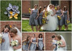 Grey and yellow bridesmaids dresses - DIY Paper flowers for the bridesmaids. Rustic Chic DIY Barn wedding. Rob Spring Photography