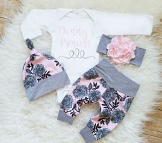 Daddy's Princess Outfit Baby Girl Monogrammed Bodysuit