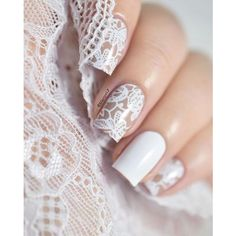 29 Beautiful Wedding Nail Art Ideas   You & Your Wedding ❤ liked on Polyvore featuring beauty products, nail care, nail treatments and nails