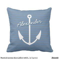 Nautical nursery decor pillow with boat anchor