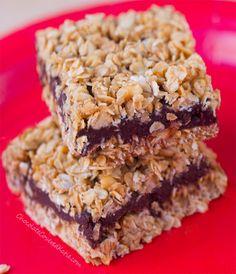 No-Bake Chocolate Banana Oatmeal Fudge Bars.  Use GF oats