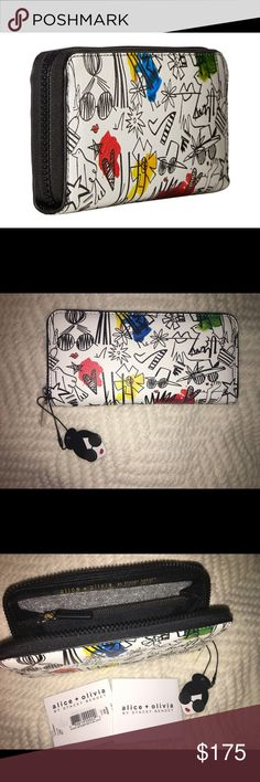 Alice+Olivia stace face long graffiti wallet NWT Alice+Olivia long zip around stace face graffiti wallet. Multiple slots for credit cards, center zipper for change, slots for cash. Lined black interior. Please view all photos and ask any questions you may have prior to purchasing. ❌No Trades❌  ⭐️Bundle & Save⭐️ Alice + Olivia Bags Wallets