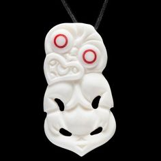 Carved bone Maori style Tiki with traditional red eyes. Hand carved in New Zealand Fertility Symbols, Zen, Maori Art, Ancient Symbols, Bone Carving, Best Artist, Craft Work, Custom Art, Wearable Art