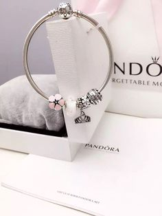 50% OFF!!! $159 Pandora Bangle Charm Bracelet Pink White. Hot Sale!!! SKU: CB02052 - PANDORA Bracelet Ideas