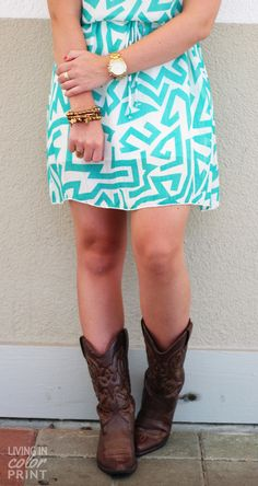 When in TX | sundress + cowgirl boots