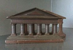 VINTAGE BOOKENDS METAL GREEK COLUMNS JUDD 1925 PAIR