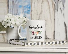 New grandma mug pregnancy announcement, promoted to Nana, Baby announcement grandmother gift. Mother's day gift for grandma. Grandma Mug, New Grandma, Grandmother Gifts, Funny Coffee Cups, My Coffee, Gifts For Wife, Mother Day Gifts, Memorial Day, Sublimation Mugs