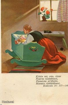 Martta Wendelin was a Finnish artist whose work was widely used to illustrate fairy tales and books, postcards, school books, magazine and book covers. Vintage Books, Vintage Cards, Vintage Postcards, Vintage Images, Childrens Christmas, Christmas Art, Retro Housewife, Retro Advertising, School Posters
