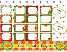 Christmas Tags  Printables, Stickers, Buffet tags, labels Thanks and more. Editable in PDF. TAGNAVI-PIXELB-133 de CutePrintableDesigns en Etsy
