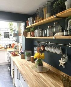 above a lot of inspiration about unique kitchen shelf shelves, so sure you don't want to replace it with a new kitchen shelf design like above? Kitchen Shelf Design, Kitchen Interior, Apartment Kitchen, Cozy Apartment, Cabinet Design, Modern Interior, Interior Design, Küchen Design, House Design