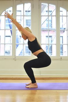 Chair Pose: The benefits of chair pose are many if done correctly. It strengthens the core, thighs, calves and ankles, and stretches the shoulders and chest. In addition to improving posture, it helps protect the knee joint by building stability.