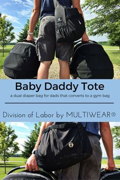 A diaper bag that converts into a gym bag post baby and is styled for dad...even better: it pairs up with a mom tote that is all about mom.