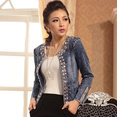 Cheap jacket women coat, Buy Quality outerwear coat directly from China retro jacket women Suppliers: 2017 Slim Denim Jackets Outerwear Coats Classical Rhinestone Sequins Retro Jackets Women Coats With Rivets Female Jackets Fashion Casual, Denim Fashion, Womens Fashion, Fashion Coat, Coats For Women, Jackets For Women, Clothes For Women, Ladies Jackets, Short Denim