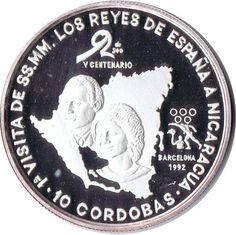 Moneda de plata 10 Cordobas Nicaragua 1991 Reyes España.