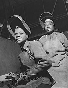 Pictures of African American women welders working in production work in a production plant during World War II, part of the homefront war effort.