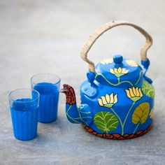 A series of #hand-painted #kettles which brings a sense of #colour, fun and craziness in your #homes . Box includes : A kettle and two hand-painted chai #glasses|     Buy this at -  http://ow.ly/ob2kJ