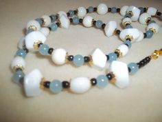Elegant Blue Black & White Beaded Necklace by GrammyKayesCreations