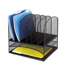 Safco Steel Mesh Desk Organizer, 8 Sections, Black