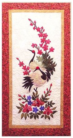 """This 24"""" X 45"""" wall hanging features an elegant Japanese cranes among a floral garden. Full size applique designs included.                                                                                                                                                                                 More"""
