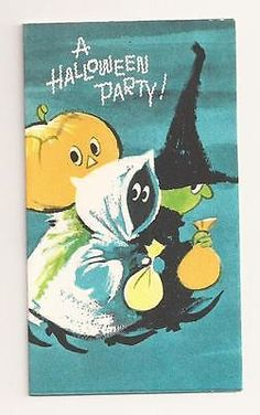 VINTAGE 1950's Gibson HALLOWEEN Ghost, Witch, JOL Party Invitation Card