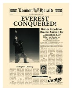 On Top of the World:  Edmund Hillary and Tenzing Norgay conquer Mt. Everest