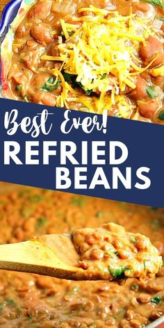 Refried Beans Recipe Easy, Mexican Beans Recipe, Mexican Refried Beans, Canning Refried Beans, Homemade Refried Beans, Mexican Food Recipes, Mexican Food Dishes, Vegetarian Side Dishes, Breakfast Recipes