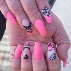 Ideas de uñas hermosas en mate (47) Fingernail Designs, Acrylic Nail Designs, Nail Art Designs, Summer Toe Nails, Summer Acrylic Nails, Gorgeous Nails, Pretty Nails, Mobile Nails, Nails Today