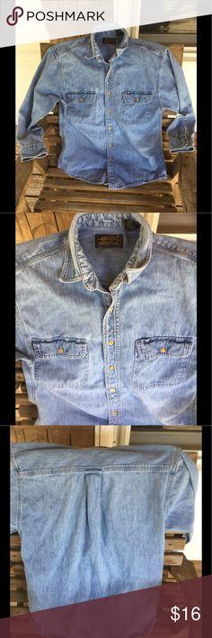Eddie Bauer denim shirt medium Eddie Bauer denim shirt, men's medium Eddie Bauer Shirts Casual Button Down Shirts