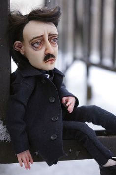 Edgar Poe 1 by Gogolle on DeviantArt Edgar Allan Poe, Clay Dolls, Art Dolls, Allen Poe, Creepy Dolls, Creepy Art, Valley Of The Dolls, Paperclay, Doll Parts