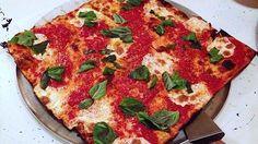 Georgia: Grandma Pie at O4W Pizza in Atlanta --- The thin-crust square Grandma pie is made with a simple garlicky marinara sauce, fresh mozzarella and pecorino cheeses, and fresh basil.