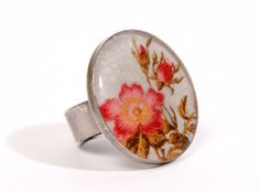 Adjustable Floral Resin Ring  Silver by Aduobarcelonajewelry, €15.00